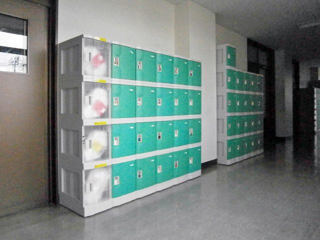 防災ロッカーに使用されたプラスチックロッカー